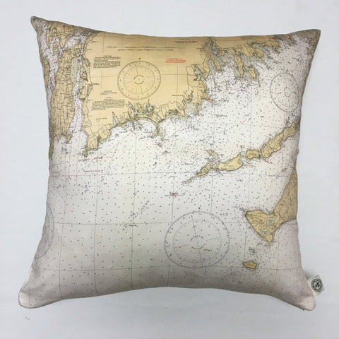 Buzzard's Bay & Narragansett Bay #2 Vintage Nautical Chart Pillow