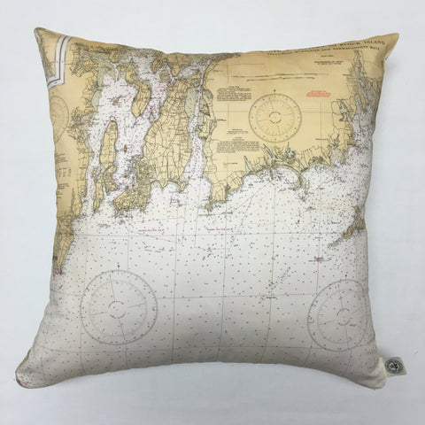 Buzzard's Bay & Narragansett Bay #1 Vintage Nautical Chart Pillow