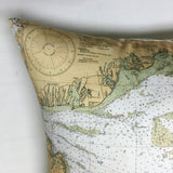 Nantucket & Martha's Vineyard Vintage Nautical Chart Pillow