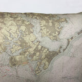 Baltimore Harbor & Approaches Vintage Nautical Chart Pillow