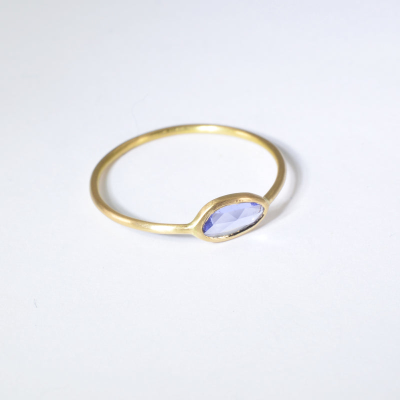 Light Blue Sapphire Ring in Solid 18K Gold
