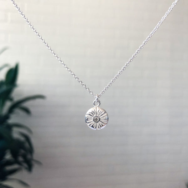 Medium Corona Diamond Necklace in Sterling Silver
