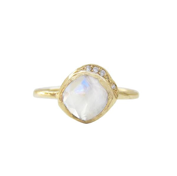 Mini Cove Moonstone Ring in 14K Yellow Gold