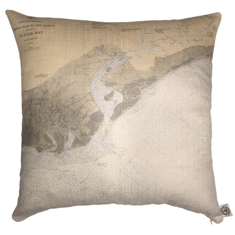Murrels Inlet & Winyah Bay Indoor/Outdoor Vintage Nautical Chart Pillow (Square)