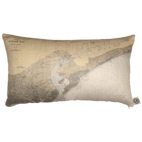 Murrels Inlet & Winyah Bay Indoor/Outdoor Vintage Nautical Chart Pillow (Lumbar)