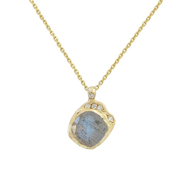 Mini Cove Labradorite Necklace in 14K Yellow Gold