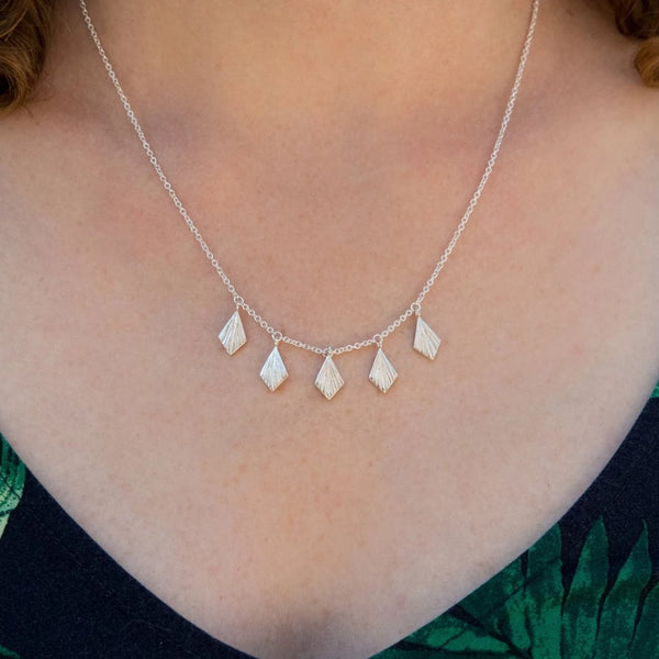 Flame Fan Necklace in Sterling Silver