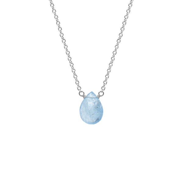 Single Drop Gemstone Necklace (Pear Shape)