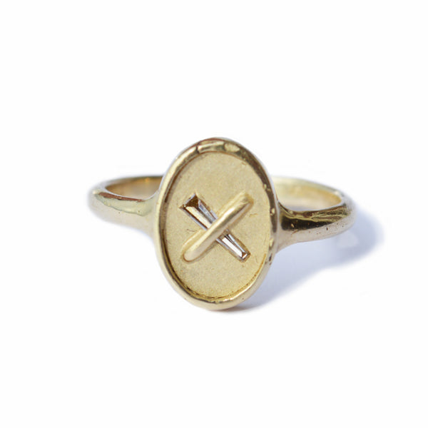 Nada Diamond Baguette Ring in 14K Gold