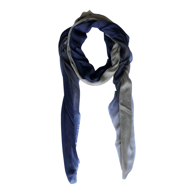 Silk/Cashmere Scarf (Navy/Taupe)