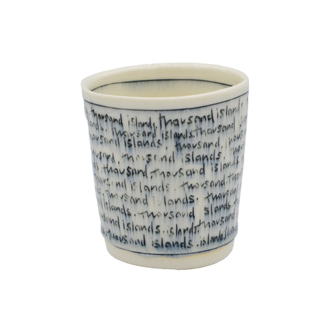 Nicole Aquillano Ceramics Thousand Islands Text Whiskey Cup