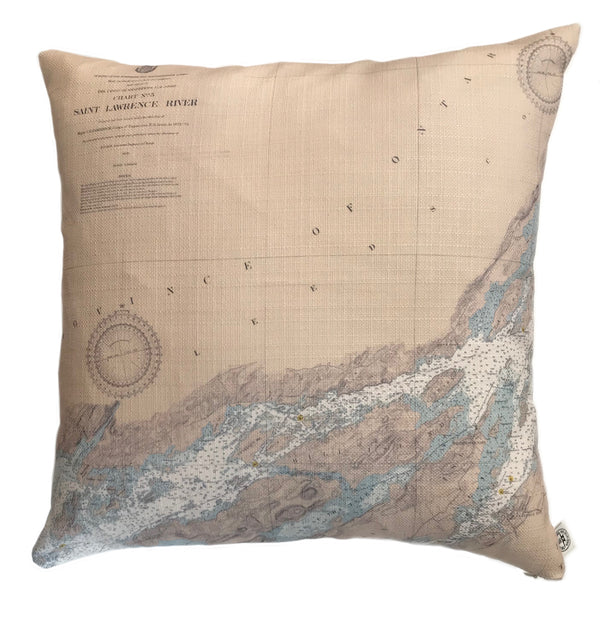 Indoor/Outdoor Chart Pillow (Lake Fleet Group to Alexandria Bay)