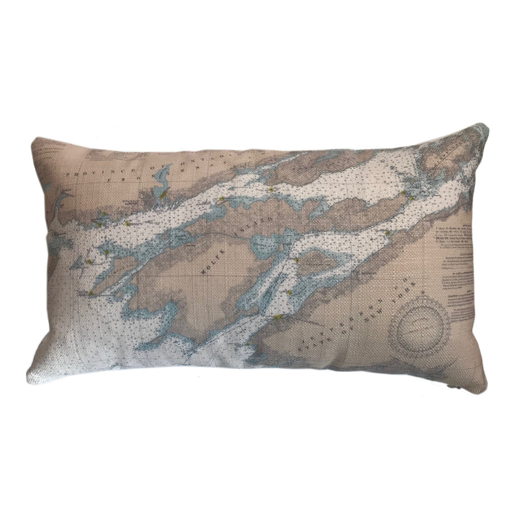 Indoor/Outdoor Lumbar Chart Pillow (Lake Ontario to Grindstone)