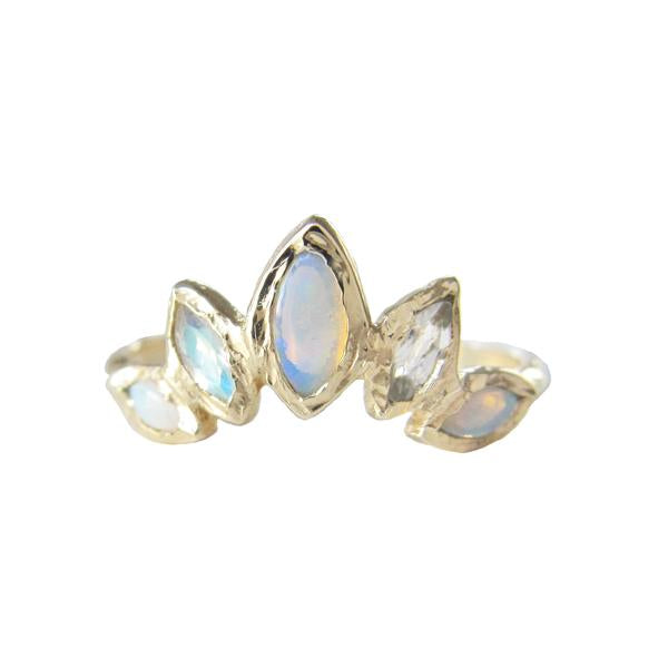 Palm Paradise Opal & Moonstone Ring in 14K Yellow Gold
