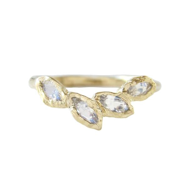 Petal Moonstone Ring in 14K Yellow Gold