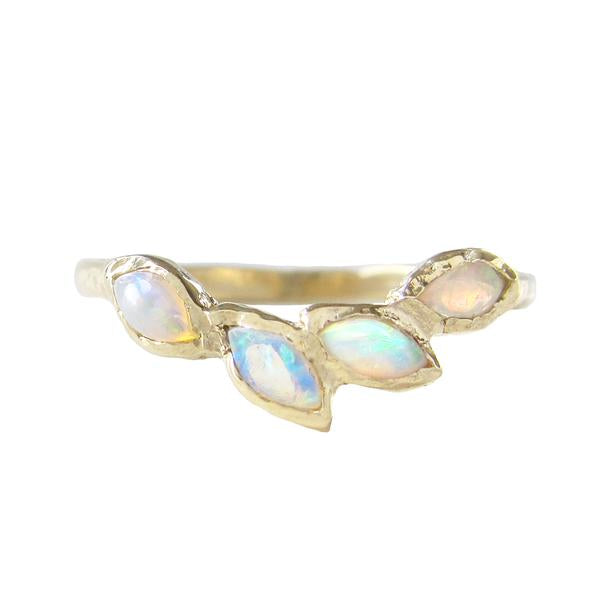 Petal Opal Ring in 14K Yellow Gold