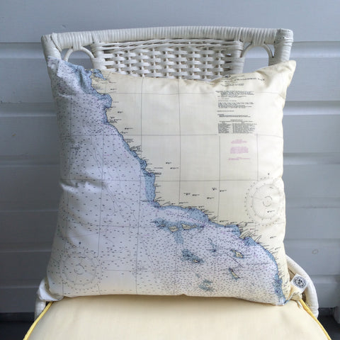 San Francisco to San Diego Vintage Nautical Chart Pillow