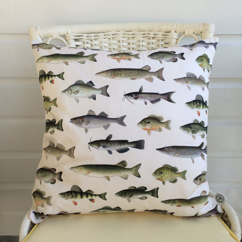 Denton Fish Vintage Chromolithograph Pillow