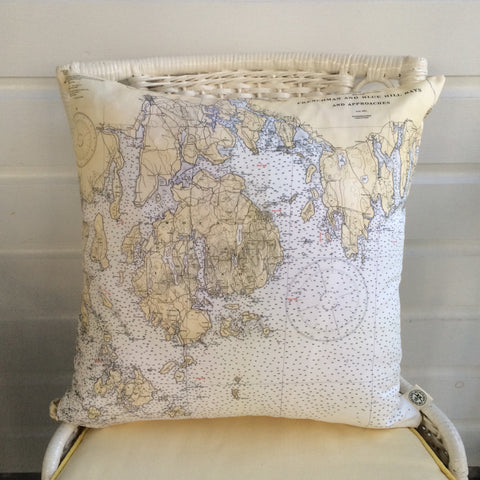 Bar Harbor Maine Vintage Nautical Chart Pillow