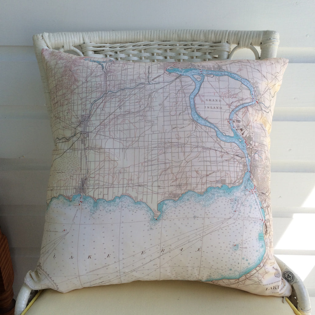 Lake Erie & Buffalo Vintage Nautical Chart Pillow