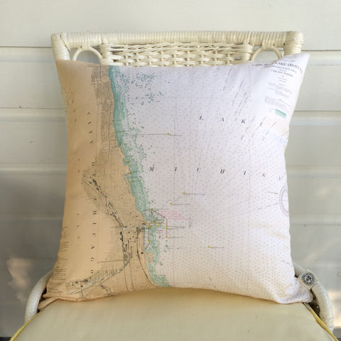 Chicago Vintage Nautical Chart Pillow