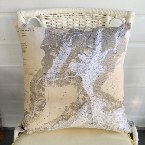 New York Harbor Vintage Nautical Chart Pillow