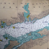 Thousand Islands Vintage Nautical Chart Pillow (from Lake Ontario to Grindstone Island)