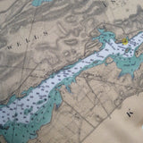 Thousand Islands Vintage Nautical Chart Pillow (from Gananoque to Lake of the Isles)