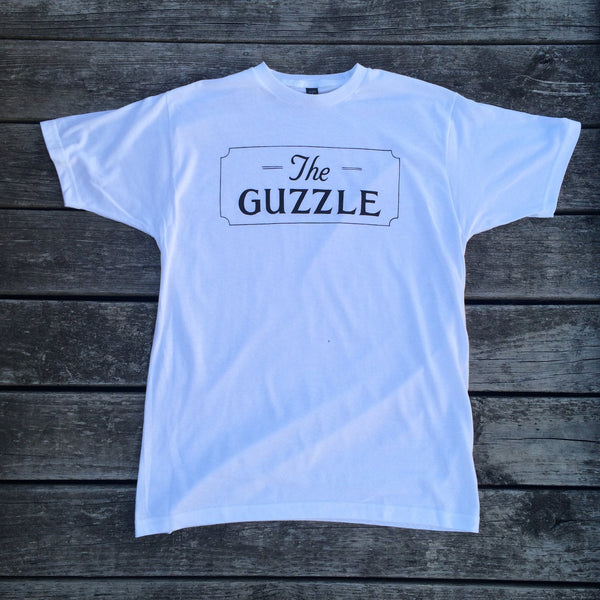 Men's White Fine Jersey Tee with The Guzzle Sign