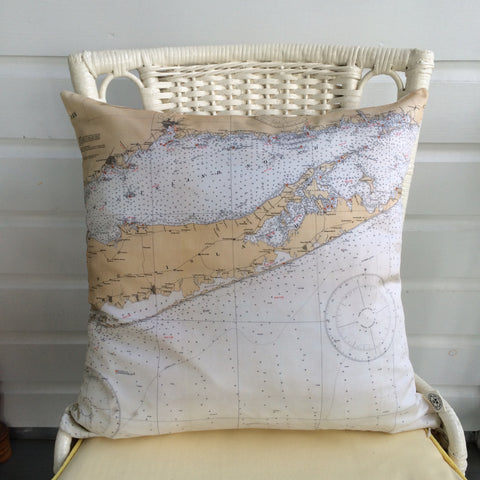 Long Island & CT Coast Vintage Nautical Chart Pillow
