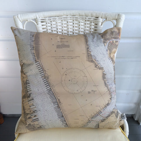 Hudson River, East River & NYC Vintage Nautical Chart Pillow