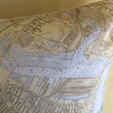 Boston Inner Harbor Vintage Nautical Chart Pillow