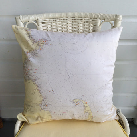 Cape Cod and MA Coast Vintage Nautical Chart Pillow