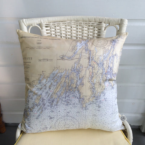 Southern Maine Coast Vintage Nautical Chart Pillow
