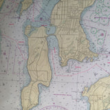 Newport Harbor & Narragansett Bay Vintage Nautical Chart Pillow