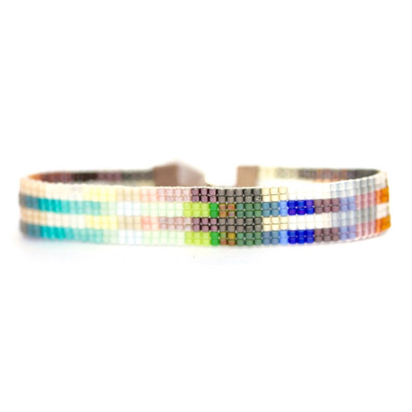 Handwoven Beaded Bracelet (Stripes)