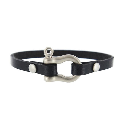 matte nickel black leather shackle bracelet