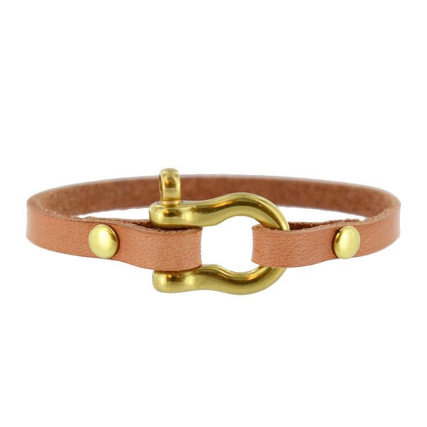 matte brass natural leather shackle bracelet