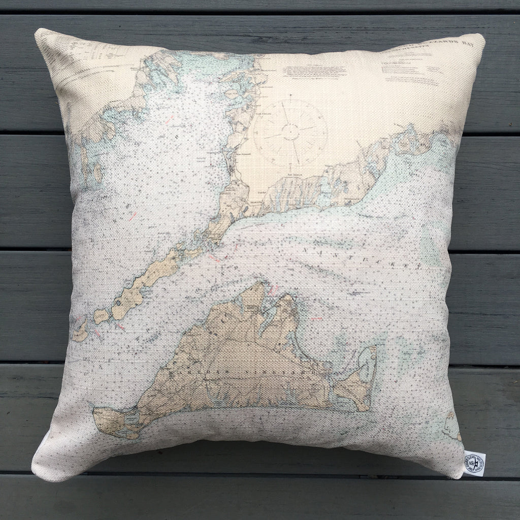 "Vineyard Sound & Buzzard's Bay 20"" Indoor/Outdoor Vintage Nautical Chart Pillow"