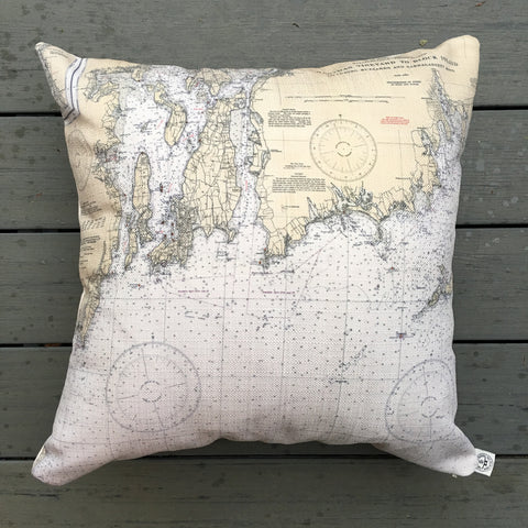 "Buzzard's Bay & Naragansett Bay #1 20"" Indoor/Outdoor Vintage Nautical Chart Pillow"
