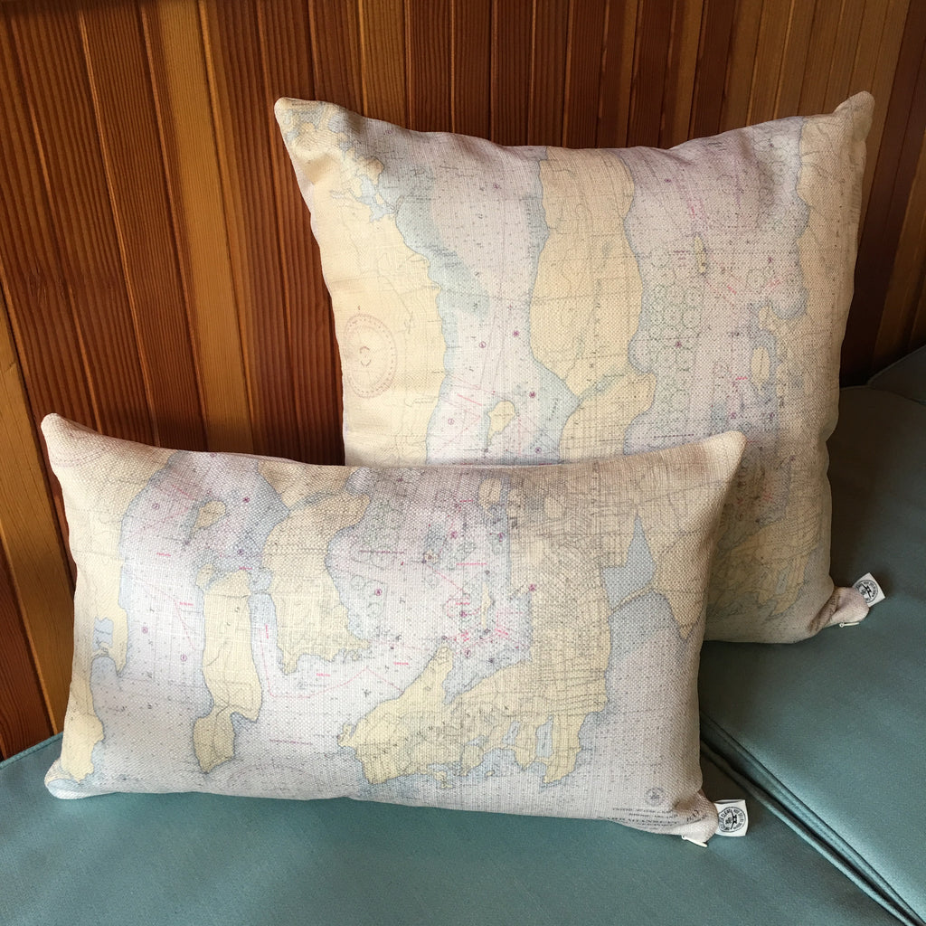 Newport & Naragansett Bay Indoor/Outdoor Vintage Nautical Chart Lumbar Pillow