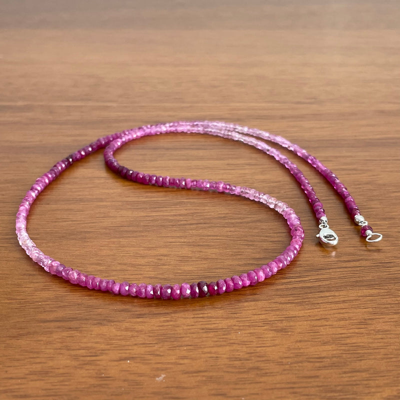 Pink Sapphire Ombre Beaded Necklace