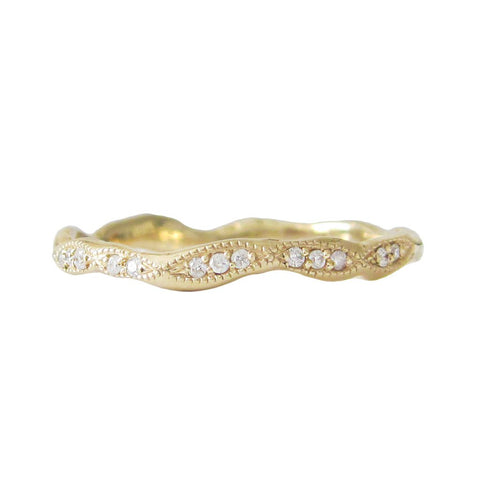 Wave Eternity Diamond Ring in 14K Yellow Gold