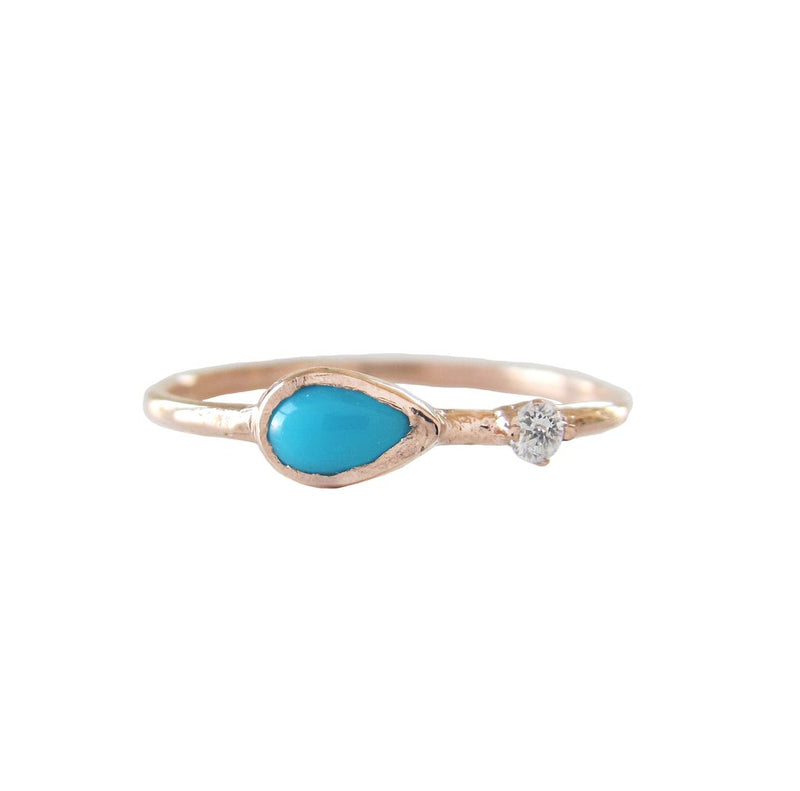 Guiding Light Turquoise and Diamond Ring in 14K Yellow Gold