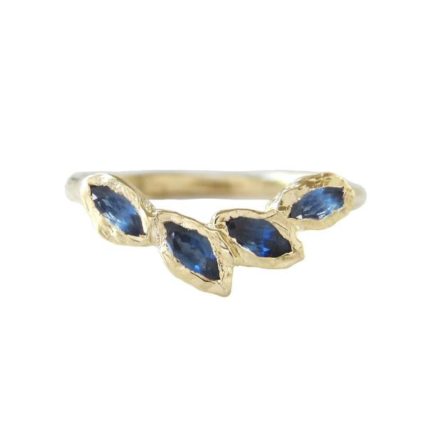 Petal Sapphire Ring in 14K Yellow Gold