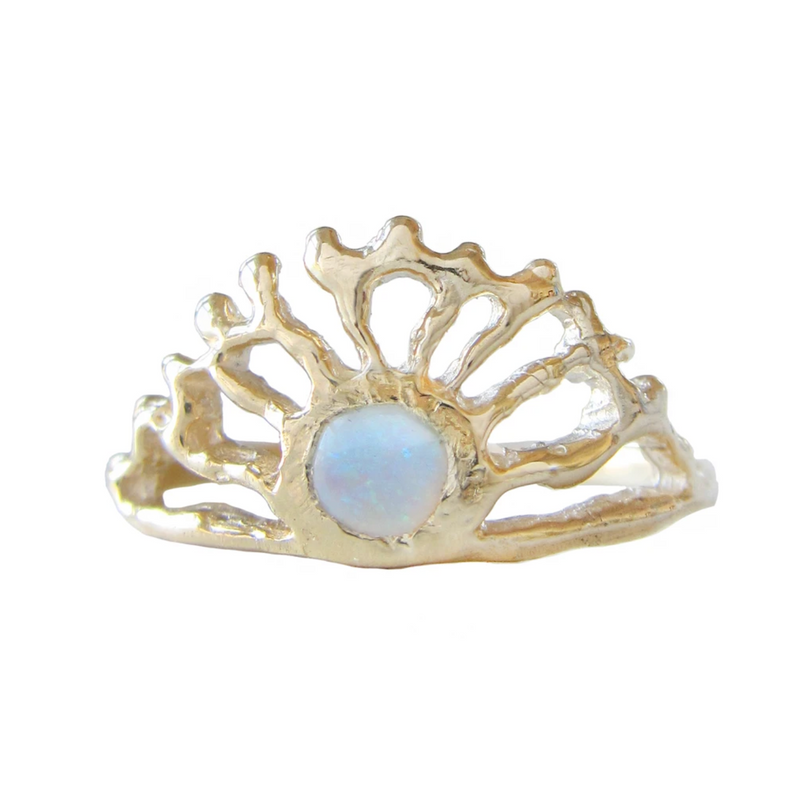 Opal Sol Ring in 14K Yellow Gold