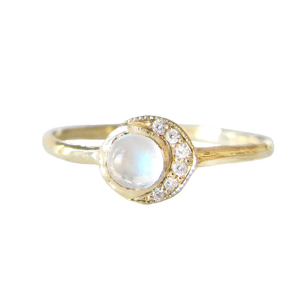Baby Moon Ring in 14K Yellow Gold