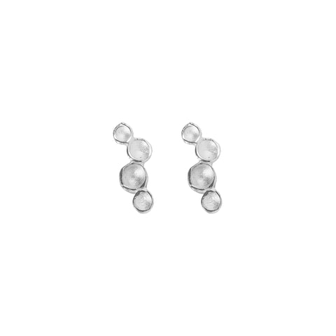 Ripple Pod Stud Earrings in Sterling Silver
