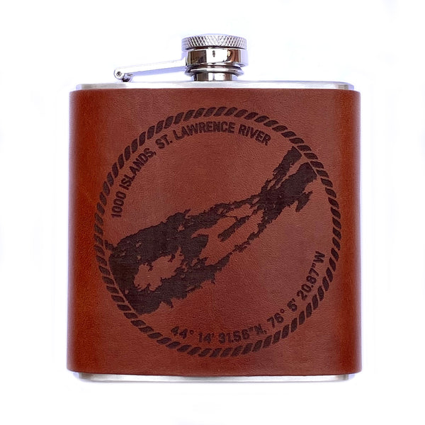 River Chart Leather Flask