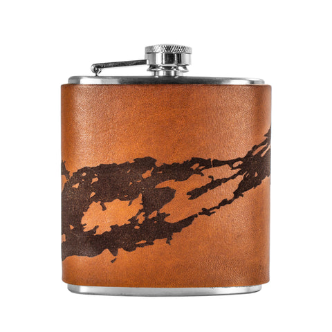 Handmade Leather Flask (River Chart)